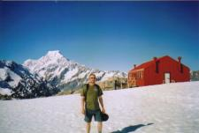 Photo of Mueller Hut, Mount Cook, and myself